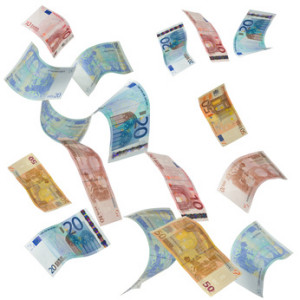 Euro notes falling from above